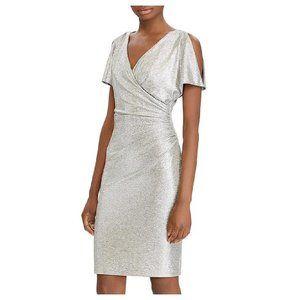 Lauren R.L. Metallic Cold-Shoulder Party Dress
